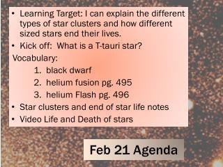 Feb  21  Agenda