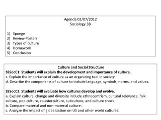 Agenda 02/07/2012 Sociology 3B Sponge Review Posters Types of culture Homework  Conclusion