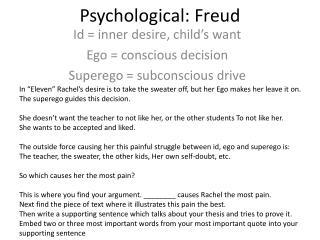 Psychological: Freud