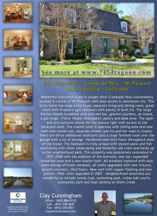 745 Dragoon Dr ~ Creekside Park ~ Mt Pleasant MLS#  1410016 ~  $975,000