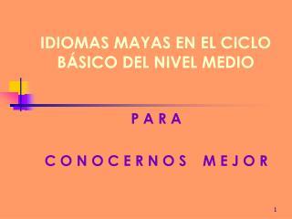 IDIOMAS MAYAS EN EL CICLO B SICO DEL NIVEL MEDIO