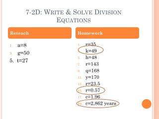 7-2D: Write & Solve Division Equations