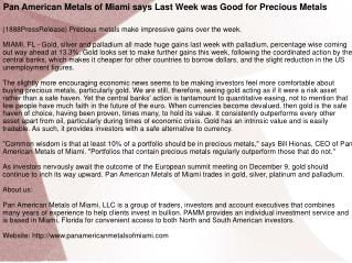 Pan American Metals of Miami says Last Week was Good for Pre