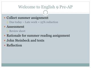 Welcome to English 9 Pre-AP