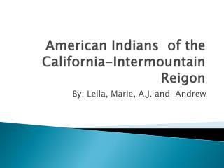 American Indians  of the California-Intermountain  Reigon