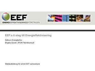 EEF:s 6 steg till Energieffektivisering