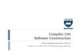 Java Implementation: Part 2 Version 1.3 of 2014-03-18 :  added  learning objectives