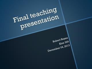 Final teaching presentation
