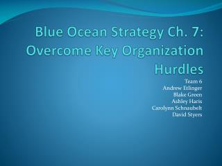 Blue  O cean Strategy Ch. 7: Overcome Key Organization Hurdles