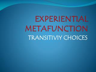 EXPERIENTIAL METAFUNCTION
