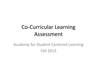 Co-Curricular Learning Assessment