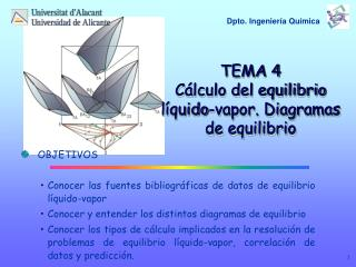 TEMA 4 Cálculo del equilibrio líquido-vapor. Diagramas de equilibrio