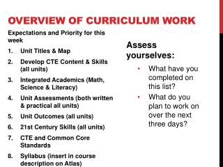 Overview  of curriculum work