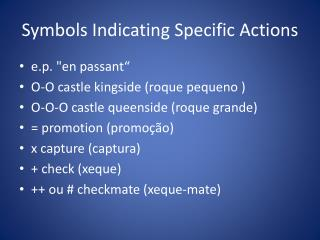 Symbols Indicating Specific Actions