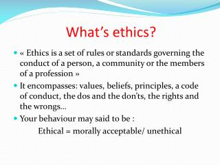 What's ethics ?