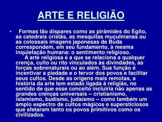 ARTE E RELIGI O