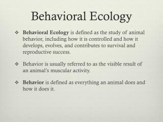 Behavioral Ecology