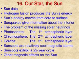 16. Our Star, the Sun