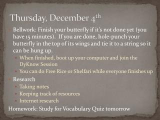 Thursday, December 4 th