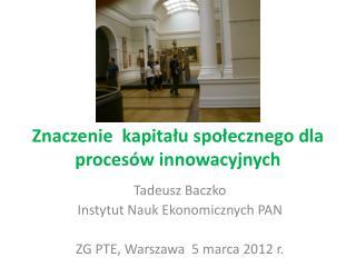 Znaczenie  kapitału społecznego dla procesów innowacyjnych