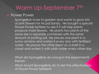 Warm Up-September 7 th