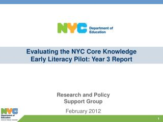 Evaluating the NYC Core Knowledge Early Literacy Pilot: Year 3 Report