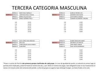 TERCERA CATEGORIA MASCULINA