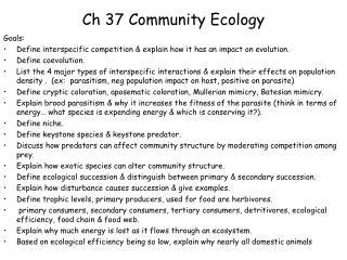 Ch  37  Community Ecology