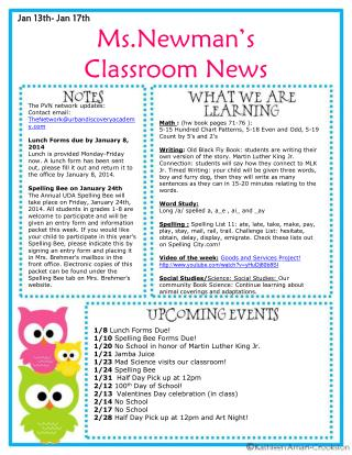 Ms.Newman's Classroom News