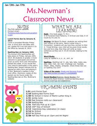 Ms.Newman�s Classroom News