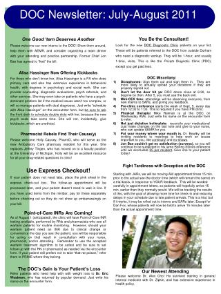 DOC Newsletter : July-August  2011