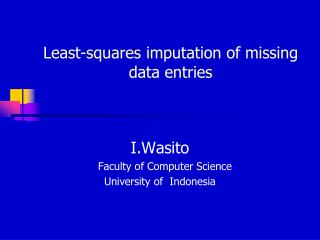 Least-squares imputation of missing data entries