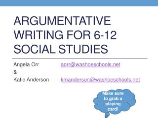 Argumentative Writing for 6-12 Social studies