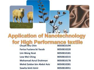 Application of Nanotechnology  for High Performance textile