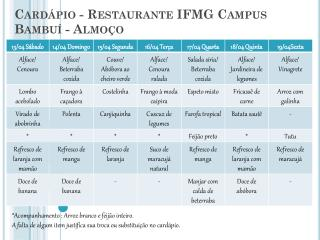Cardápio - Restaurante IFMG Campus  Bambuí  - Almoço