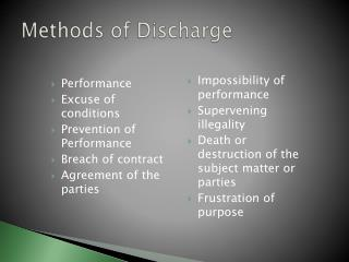 Methods of Discharge