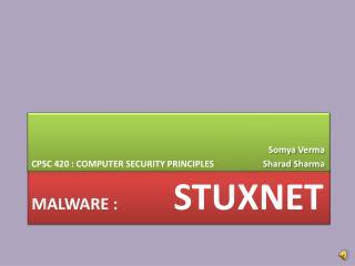 MalWARE  :  stUXNET