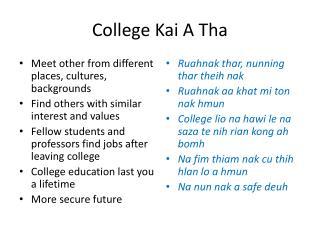 College Kai A Tha