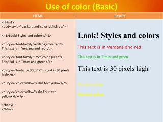 Use of color (Basic)