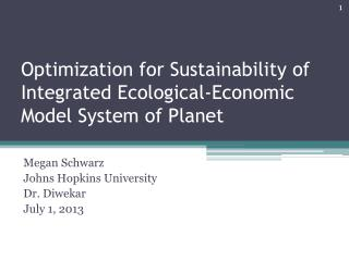 Optimization for Sustainability of Integrated Ecological-Economic Model System of Planet