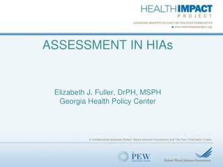 ASSESSMENT IN HIAs Elizabeth J. Fuller,  DrPH , MSPH Georgia Health Policy Center
