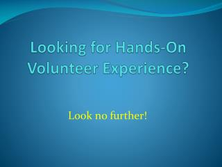 Looking for Hands-On Volunteer Experience?