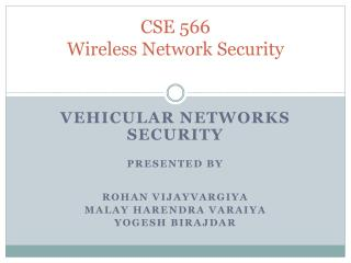 CSE 566 Wireless Network Security