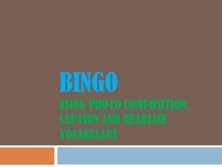 Bingo using photo composition, caption and headline vocabulary