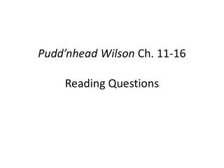 Pudd'nhead  Wilson  Ch. 11-16 Reading Questions