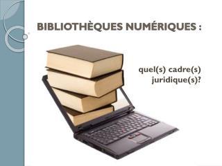 BIBLIOTHÈQUES NUMÉRIQUES :