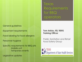 Texas Requirements for BBQ operators