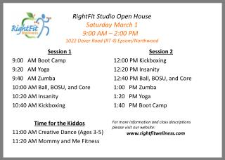 RightFit Studio Open House Saturday March 1 9:00 AM – 2:00 PM