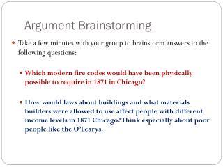 Argument Brainstorming