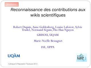 Reconnaissance des contributions aux wikis scientifiques
